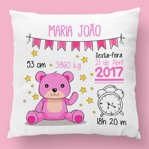 almofada personalizada urso rosa