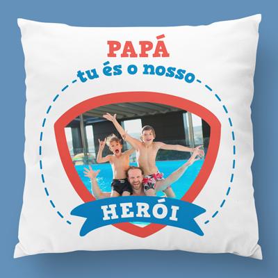 almofada personalizada papá es o nosso heroi