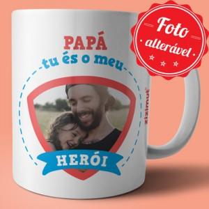 caneca papa es o meu heroi com foto