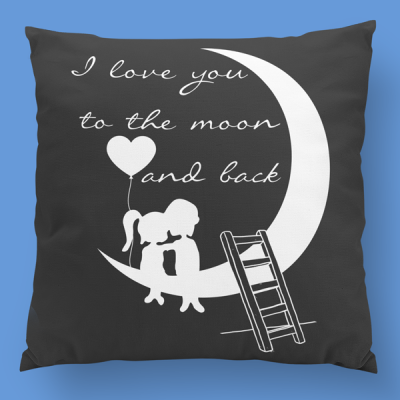 almofada personalizada i love you to the moon and back cinza branco