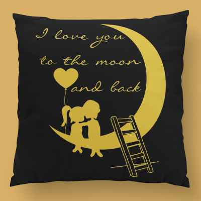 almofada personalizada i love you to the moon and back preto dourado