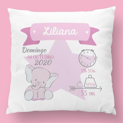 almofada de nascimento estrela rosa