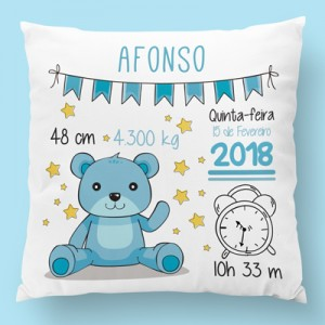 almofada personalizada urso azul