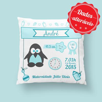 almofada personalizada pinguim azul