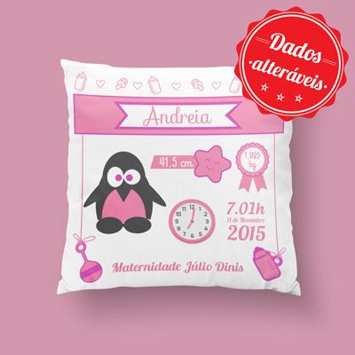 almofada personalizada pinguim rosa
