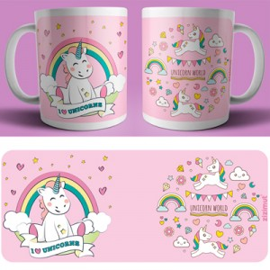 caneca I love unicorns