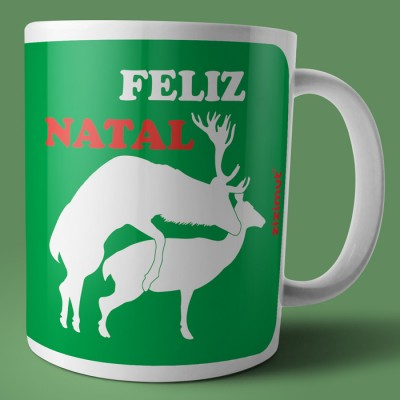 caneca feliz natal rena