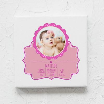 tela nascimento menina com foto rosa