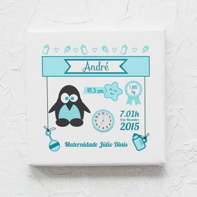 tela nascimento pinguim azul