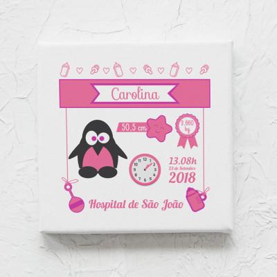 tela nascimento pinguim rosa