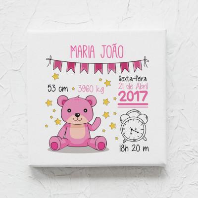 tela nascimento urso rosa